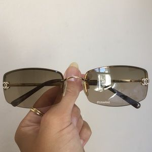 Authentic Chanel Crystal Rimless 4093-B Sunglasses